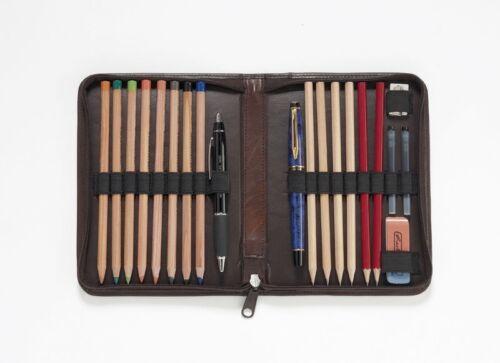 Stifteetui*Stiftbox*Federmappe*Federtasche*Echt-Leder* Farben*Rindleder*groß