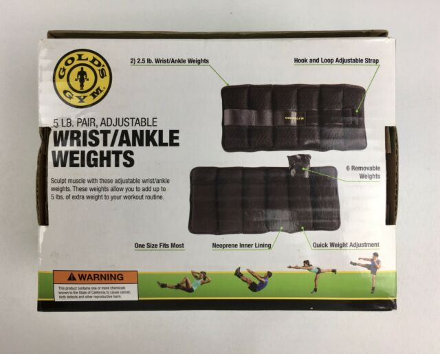 Gold/'s Gym 10lb Pair Adjustable Ankle Workout Weights Arm Leg for sale online
