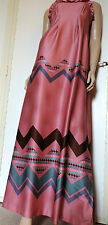 PUR VINTAGE 70  LONGUE ROBE ROSE/ MOTIF GRAPHIQUE OP ART 40/42 BOHO LONG DRESS