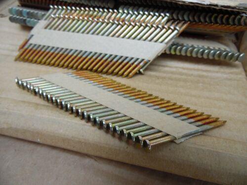 "New 1000 Piece 2/"" X.113 Framing Nails Paper Strip Galvanized Ring Shank Fasco"