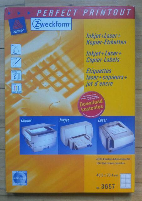 4000 Universal Adressetiketten 48,5x25,4 mm weiß 100 Blatt Etiketten 48,5 x 25,4
