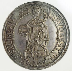 1694-Salzburg-Johann-Ernst-von-Thun-Large-Silver-Thaler-Coin-NGC-AU-58
