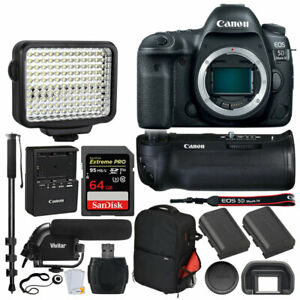 Canon EOS 5D Mark IV DSLR Camera (Body) + Battery Grip BG-E20 + 64GB Card + LED