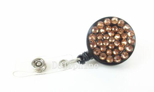 Wholesale Lots Rhinestone Badge Retractable Reel Badge Holder with belt clip