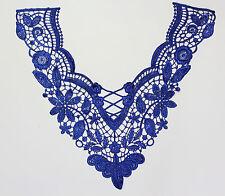 Venise Embroidered Lace Yoke Applique Motif dress dance costume Colour: Blue  #7