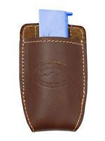 Barsony Brown Leather Magazine Pouch For Cobra, Bryco Mini/pocket 22 25 380