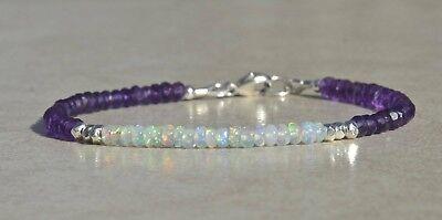 """Natural Ethiopian Fire Opal /& Amethyst Beaded Fine Bracelet 7.5/"""" Silver Clasp K3"""