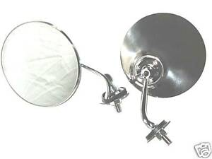 Mini-Land-Rover-Series-1-2-2a-Stainless-Chrome-Door-Wing-Mirrors-Convex-Glass-x2