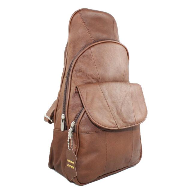 a1ce47decab8 Vine Branch Genuine Leather Backpack Chest Pack Daypack Sling Bag Shoulder  Bag