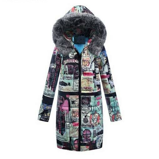 Womens Floral Printed Long Winter Coat Fur Hooded Cotton Padded Parkas Slim HOT