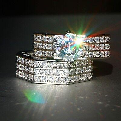 Fashion Jewelry Women Men 925 Silver White Sapphire Engagement Ring Set Sz 6-10