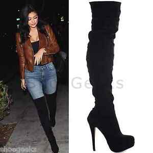 LADIES WOMENS BLACK OVER THE KNEE THIGH HIGH PLATFORM STILETTO ...
