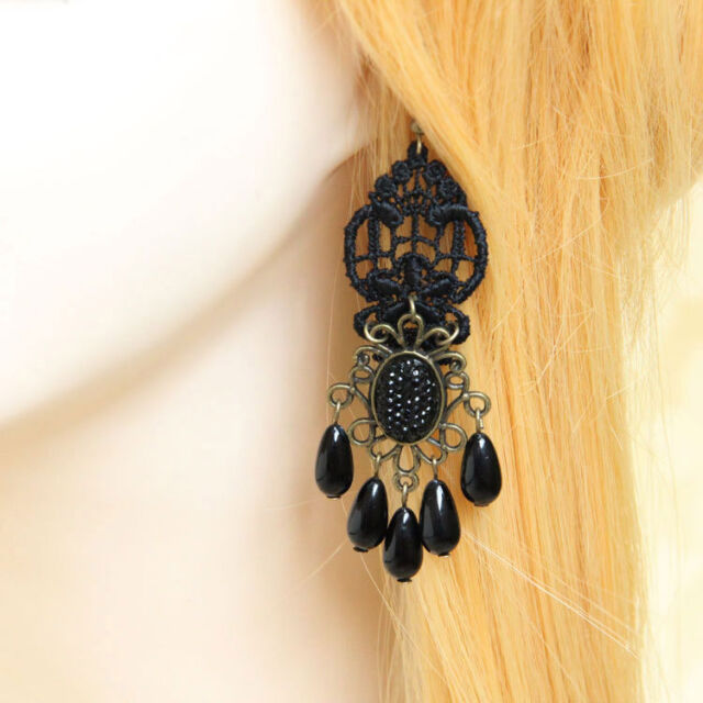 1 PAIR Lolita Black Rhinestone Drop Floral Lace Dangle Handmade Gothic Earrings