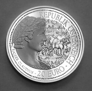 AUSTRIA-20-EURO-SILVER-PROOF-COIN-VIRUNUM-ROME-BOX-with-AUTHENTICITY-CERTIFICATE