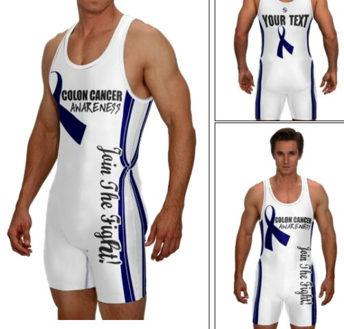 Colon Cancer support wrestling singlet includes custom text