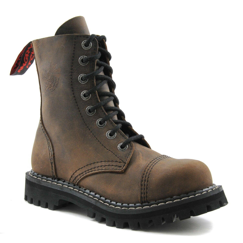 Angry Itch bottes De Combat En Cuir marron Unisexe 8 œillets militaire Steel Toe Punk