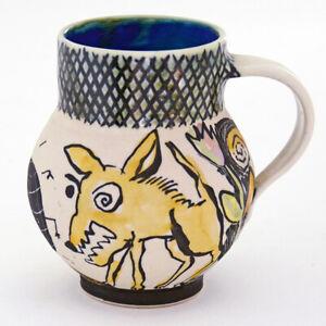 Michael-Miguel-Corney-Mug-Handpainted-Handthrown-by-Artist-Studio-Pottery
