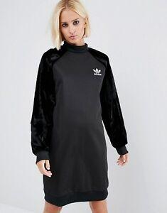 Adidas-Originals-Faux-Fur-Sleeve-Black-Sweatshirt-Dress-Sizes-New-645