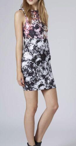 TOPSHOP PETITE multi colour photo imprimé fleuri strechy Taille robe moulante 4-12