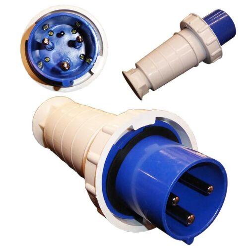63 A 3 Pin Plug and Socket étanche IP67 CEE connecteur 63 Amp Single Phase Bleu