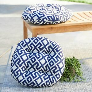 Details About Outdoor Set Of 2 16 Round Bistro Chair Cushions Navy Blue Geometric Lattice