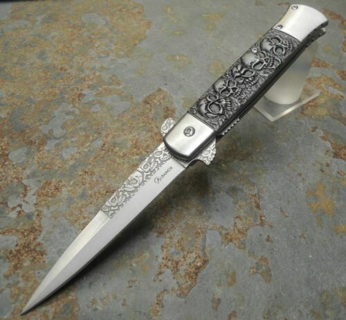 Albainox CRYPT Messer Skulls einseitig geschliffen Vollmetall Flipper 18283A