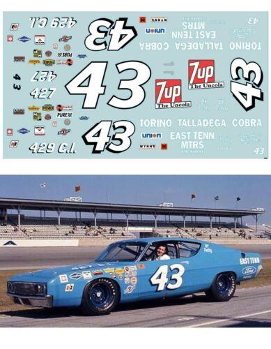 #43 Richard Petty Ford Torino 1969 1/64 scale decal AFX Tyco Lifelike Autoworld