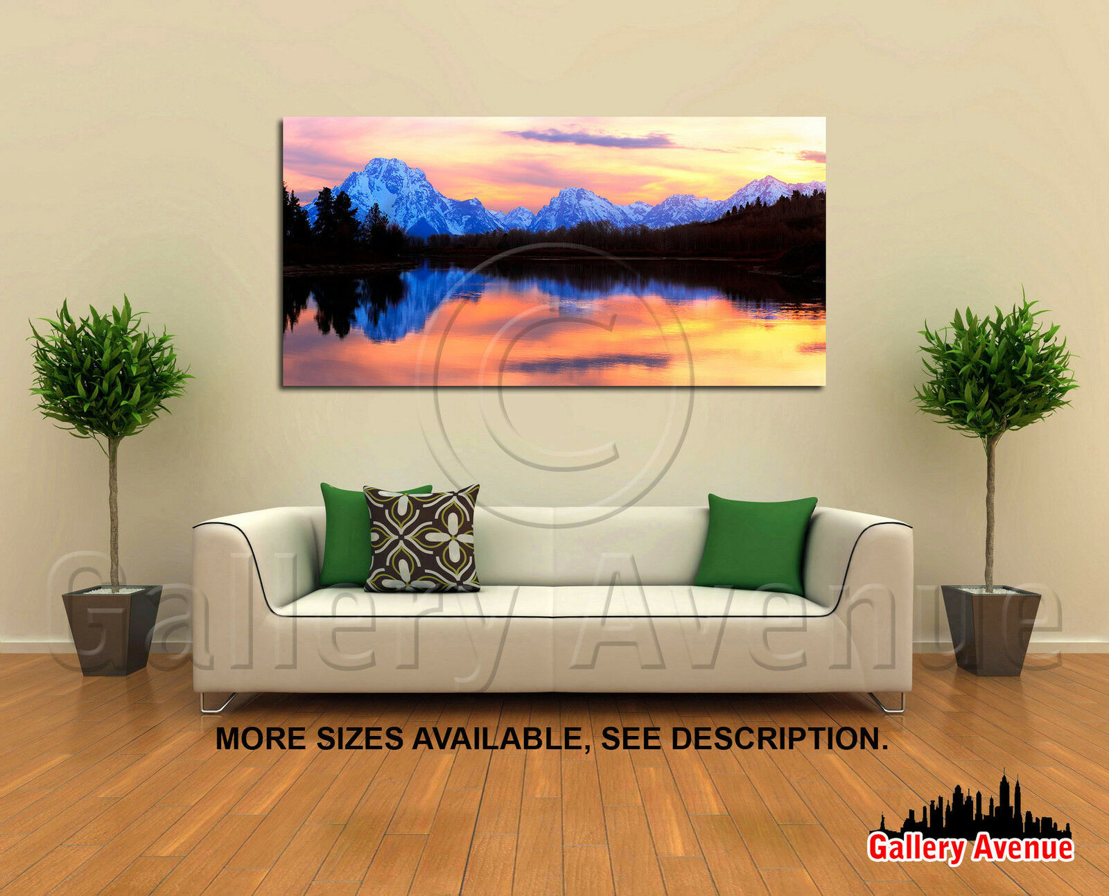 Wall Art Canvas Picture Print - Grand Tetons Sunset Panorama Wyoming 2.1