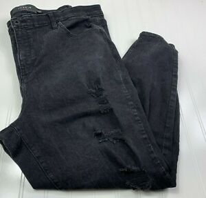 Torrid Premium Womens Sky High Skinny Jeans Plus Size 24T Destroyed Denim Black