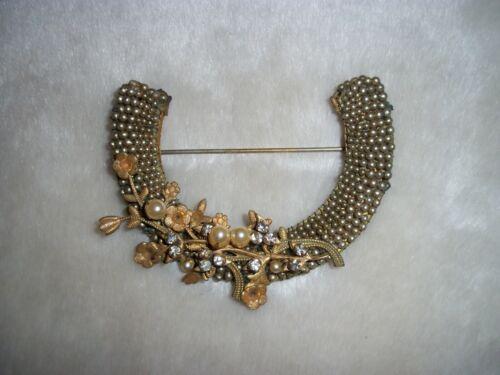Vintage Miriam Haskell Brooch Seed Pearl Pin Haske