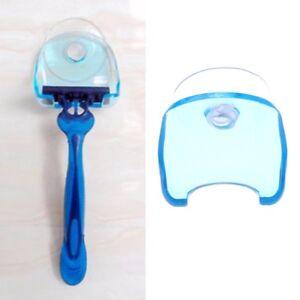Blue-Clear-Plastic-Super-Suction-Cup-Bathroom-Razor-Holder-Shaver-Storage-Rack