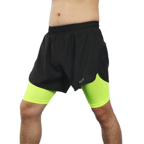 2 In 1 Mens Running Shorts Compression For Marathon Gym Quick Dry Tights Outdoor