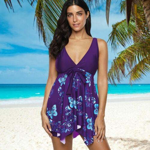 Womens 2 Pieces Tankini Butterfly Printing Bikini Swiwdress Swimsuit Beachwear