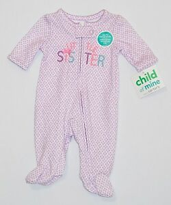 026f5b97f NWT Child of Mine by Carter s LITTLE SISTER Purple Heart Sleep n ...