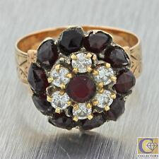 1880s Antique Victorian 14k Solid Yellow Gold Rose Cut Garnet Diamond Ring