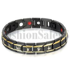 Men's Stainless Steel Om Mani Padme Hum Ceramic Magnet Health Bracelet Chain