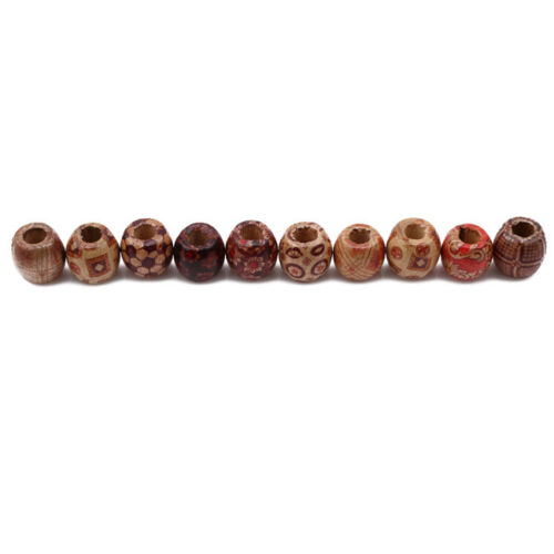 100Pcs Printed Wooden Beads Large Hole European Beads Hair Accessory 6A