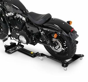 ConStands Motomover III Motorrad Rangierschiene Suzuki Intruder VS 1400 Schwarz L/ängenverstellbar Rangierhilfe Seitenst/änder Hinterrad