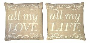 """Jute Burlap Bag Country House LOVE YOU TO THE MOON AND BACK 8/"""" x 12/"""""""