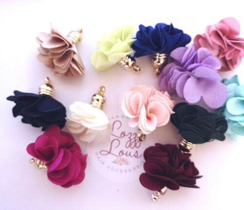 5//10 x Satin flower Tassel Charms embellishments Silver//Gold Caps mixed colours