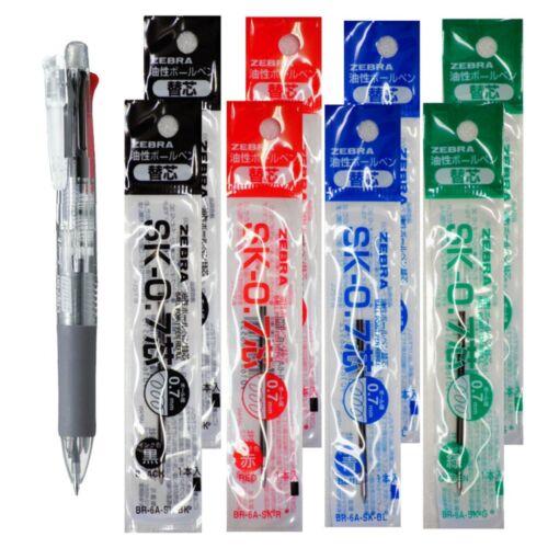 Zebra B4SA1 Transparent Pen +SK-0.7 Black Blue 8pcs Green 0.7mm Refills Red