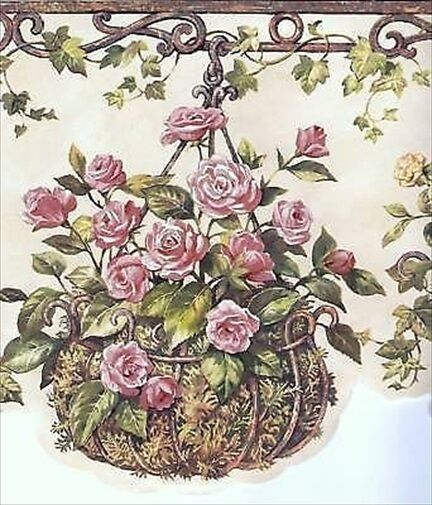 Hanging Baskets of Floral Laser Cut Wallpaper Border HRB4078