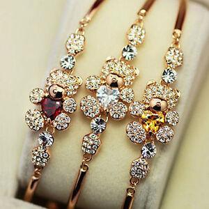 Diamond-Crystals-Teddy-Bear-with-Ruby-Crystal-Heart-Bracelet-18K-Rose-Plated