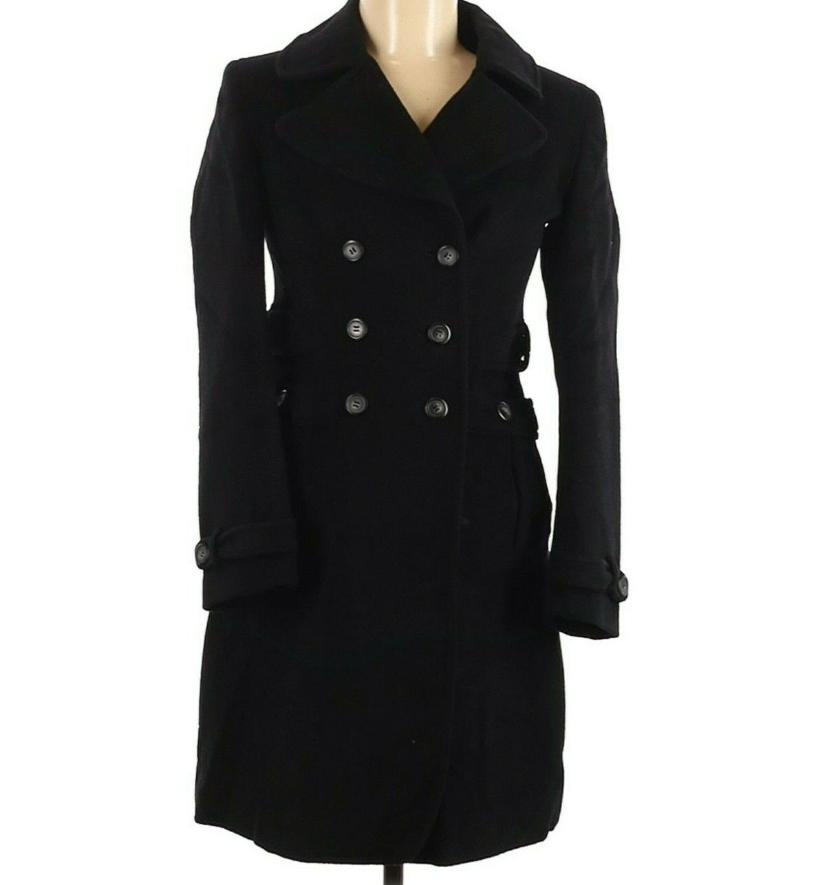 Daryl K 189 Barneys New York Co Op Black Wool Double Breasted Coat Mid Length XS