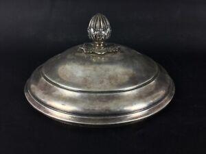 Ancien-XIXeme-couvercle-de-coupe-tete-d-epis-Napoleon-En-plaque-argent