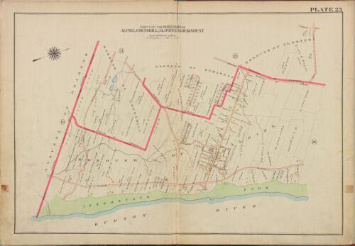 CLOSTER 1913 G.W BROMLEY ALPINE BERGEN COUNTY NEW JERSEY ATLAS MAP CRESSKILL