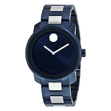 Movado Bold Blue and Silver Stainless Steel Mens Watch 3600422