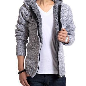 Warm Men's Wool Fur Lining Hooded Cardigan Sweater Knitted Jacket ...