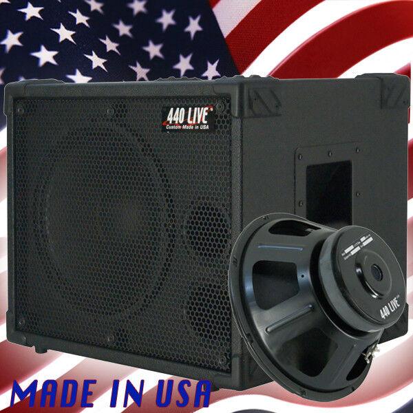 1X12 Bass Guitar Speaker Cabinet 350WRMS 8 Ohm 440LIVE BG1X12SH Bronco schwarz Tlx