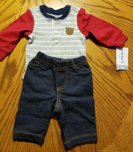 NWT CARTER/'S BABY BOY 2 PIECE OUTFITS BEAR BODYSUIT JEAN PANTS NEWBORN ADORABLE